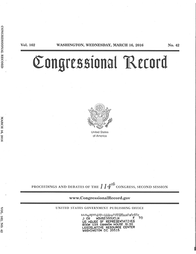 Congressional Record Recognizes John Billingsley